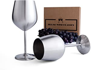 Jillmo Stainless Steel Stemmed Wine Glasses, Set of 2, 18 oz Shatterproof Wine Goblets- Dishwasher Safe Unbreakable, Great for Daily, Formal & Outdoor Use
