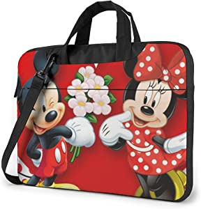 13 Inch Laptop Bag Mickey Mouse Minnie Love Couple Heart Laptop Briefcase Shoulder Messenger Bag Case Sleeve