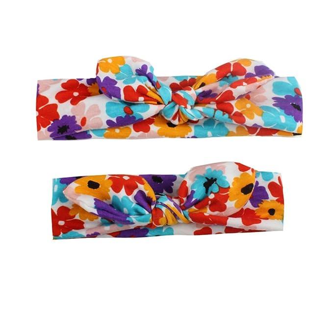 2pcs Parent-child Mother Baby Girl Kids Headband Set Hair Band Bow Boho Floral