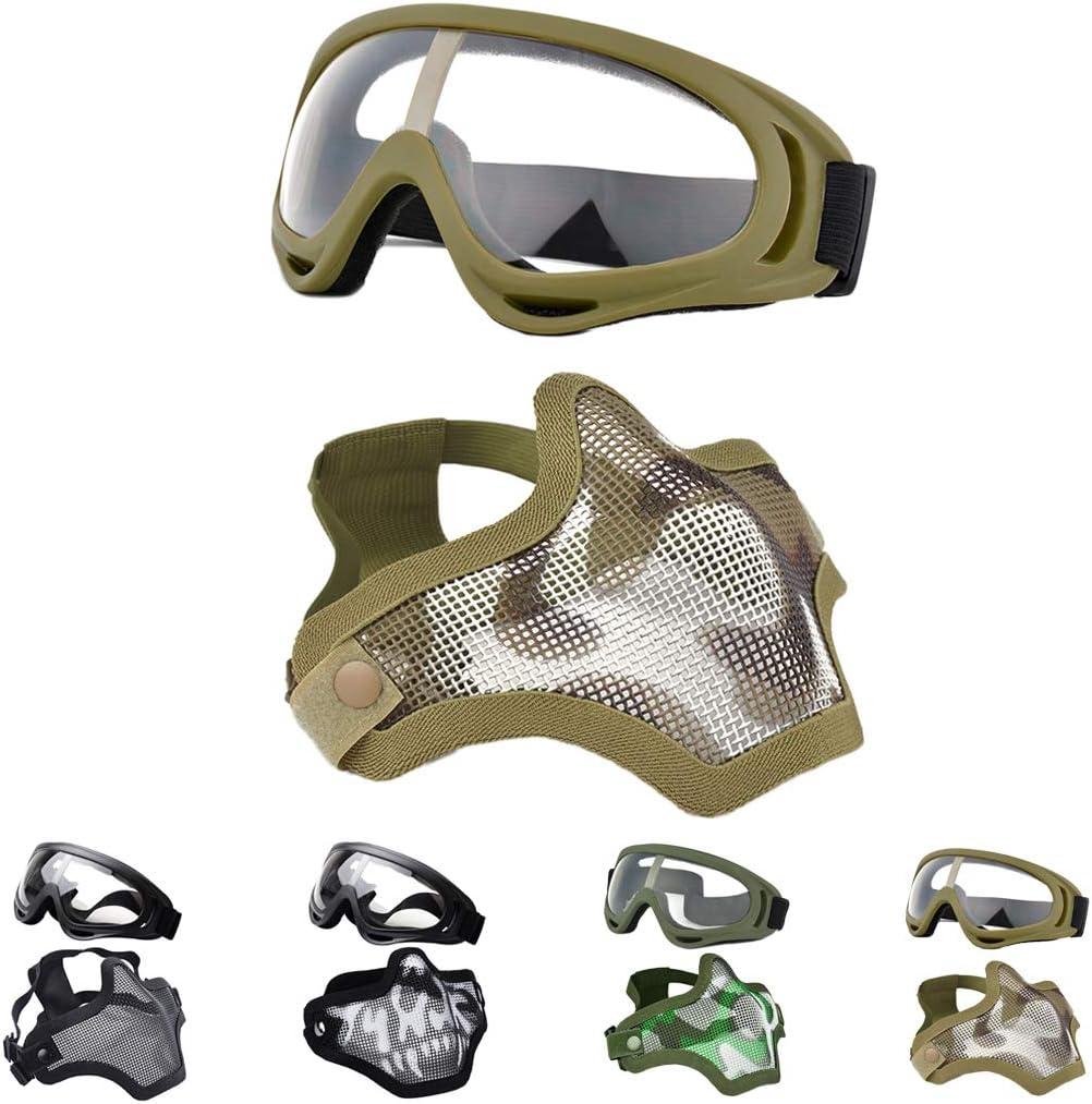 Fansport Máscaras Airsoft, Airsoft BBS Airsoft Mesh Máscara Máscara táctica Máscaras Media con máscaras Set Paintball Máscara de Malla de Acero Cara