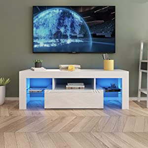 AUXSOUL Glossy LED Entertainment Stand for 55 Inch TV - Modern LED TV Cabinet with Large Drawer - Media Game Console Table - TV Stand for Media Player, TV Table Media Furniture(51 inch White)