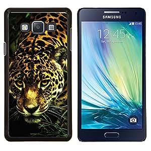 Leopard Patrón del guepardo del gato grande del animal de piel- Metal de aluminio y de plástico duro Caja del teléfono - Negro - Samsung Galaxy A7 / SM-A700