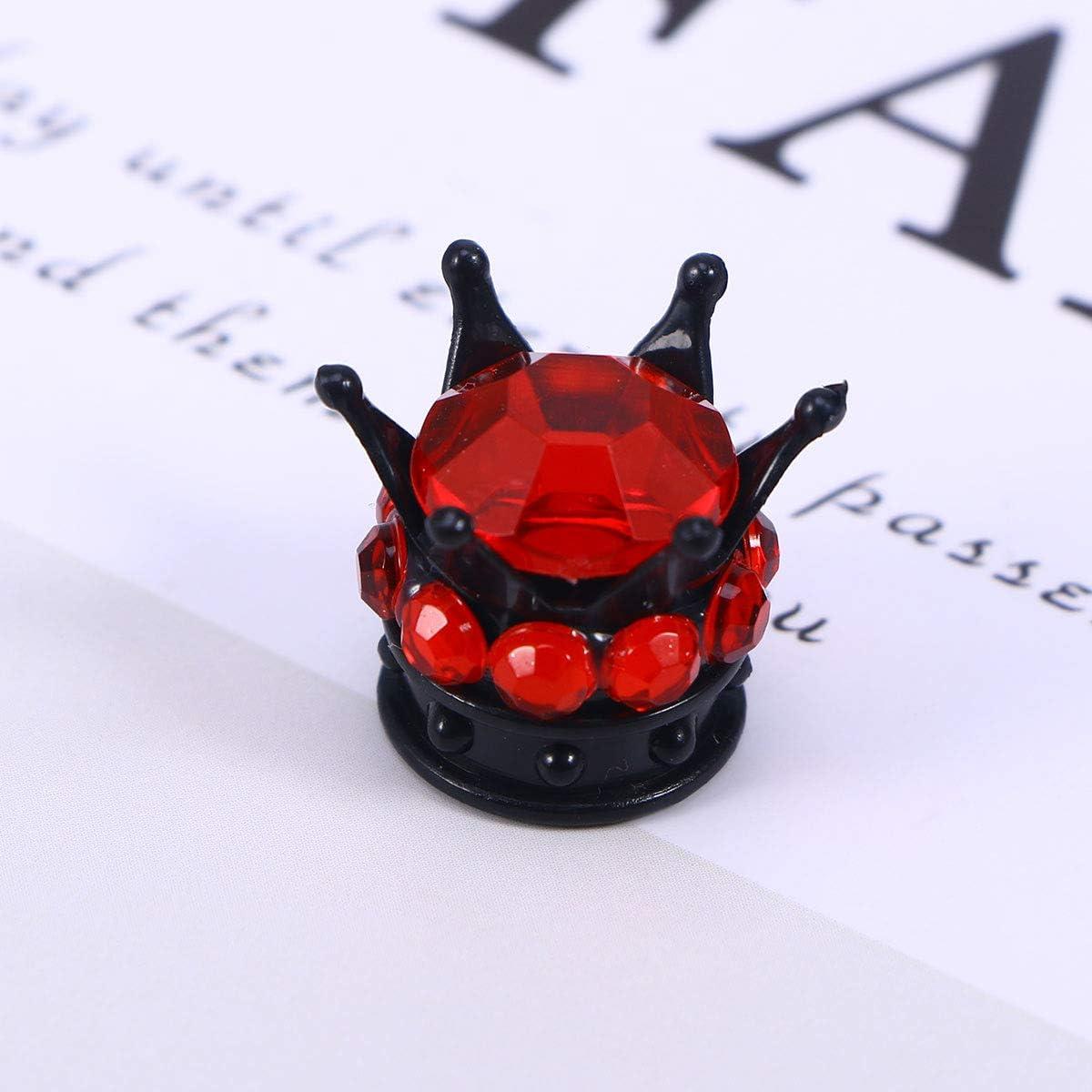 Noir Rouge Vosarea 4pcs Bouchons de Valve de Pneu avec Couronne en Forme pour v/élo de Moto de Voiture Automobile