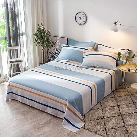 Juego de sábanas planas de rayas de café Juego de cama de tela de algodón 100