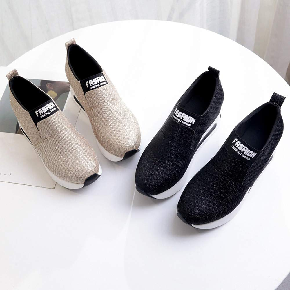 Zapatillas de Running para Mujer,JiaMeng Zapatos onales Planos y Gruesos para el Fondo sin Cordones Botines con Plataforma Zapatos Deportivos: Amazon.es: ...