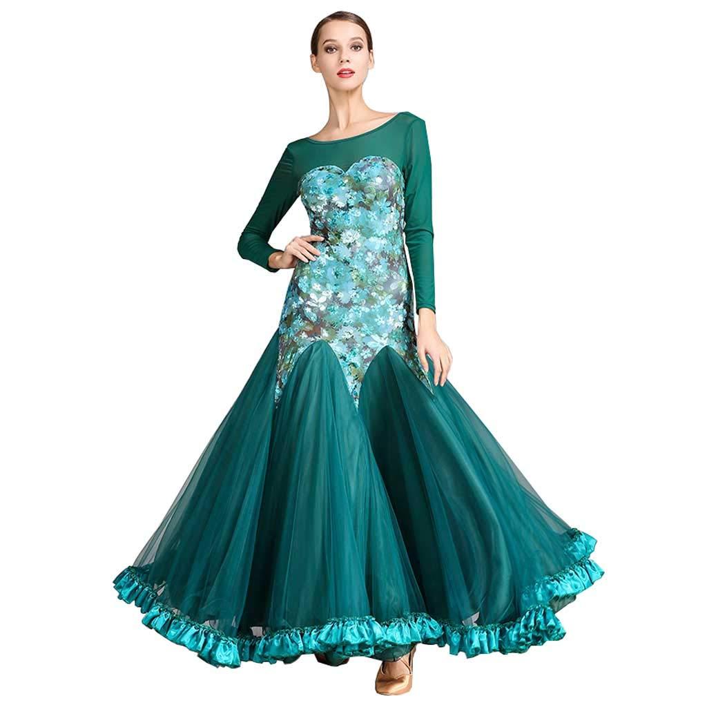 大人のモダンダンスドレス、ドレスロングスリーブワルツダンススカート B07HD6L9QJ XXL|ダークグリーン ダークグリーン XXL