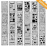 ONEST 24 Pack Journal Stencil Plastic Planner Stencils Journal/Notebook/Diary/Scrapbook DIY Drawing Template Stencil 4x7 Inch