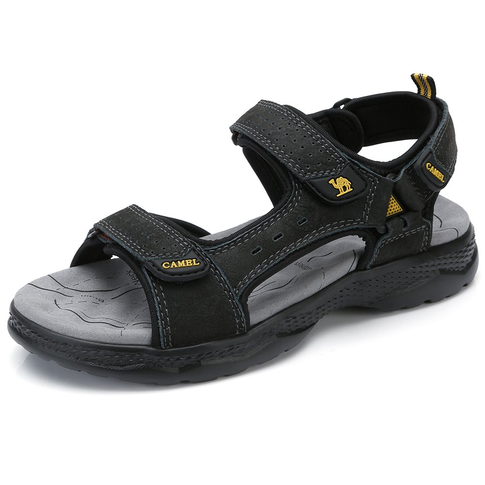 CAMEL Leather Sandals for Men Strap Athletic Shoes Hiking Sandals for Walking Beach Outdoor Summer Black 265 CN