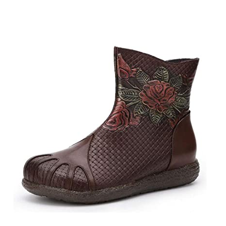 Hy Botas de Zapatos de Mujer, Botines/Botines de impresión de Viento Nacional Retro