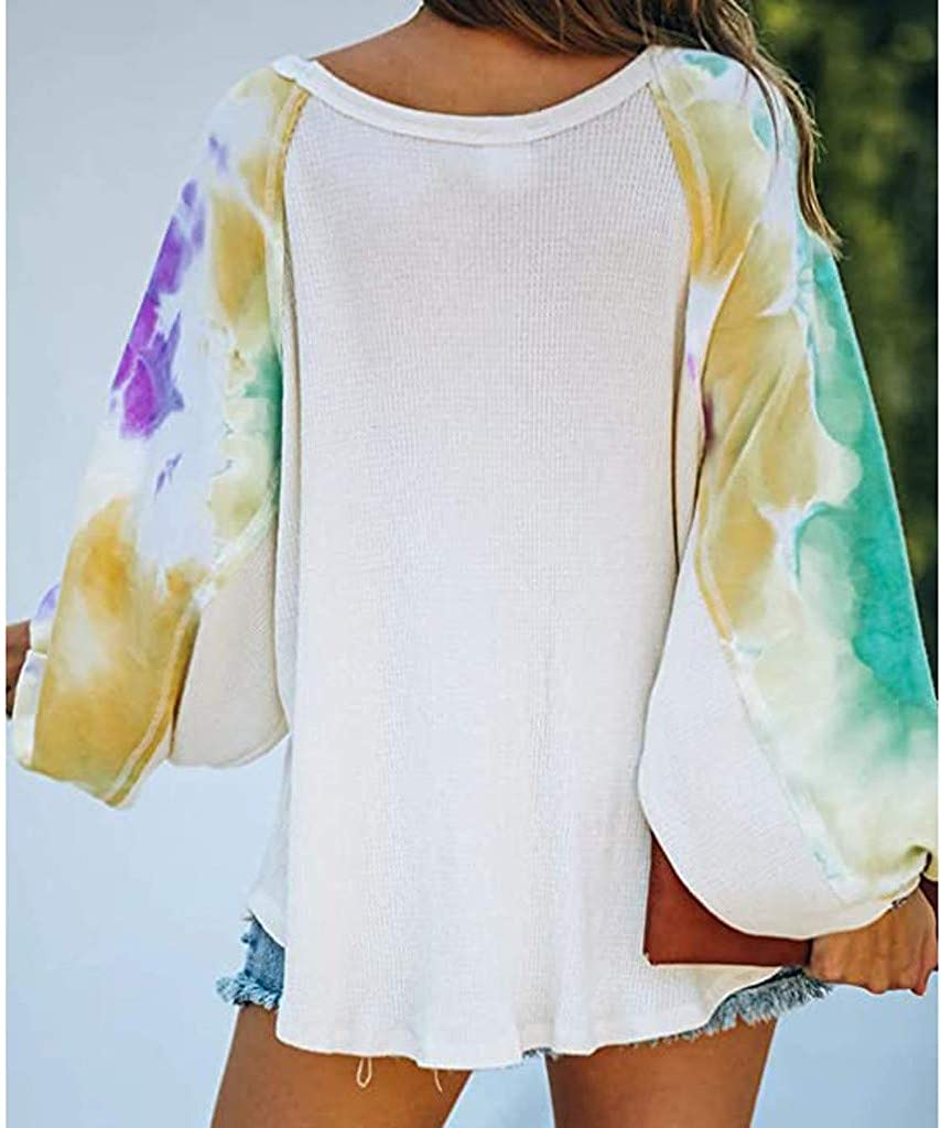 Tie-Dye O-Neck Long Sleeve Top Shirt Gradient Contrast Color Pullover Casual Loose Blouse F/_topbu Sweatshirt for Women