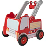 labebe Red Fire Truck Wooden Baby Push Walker - 2-in-1 Toddler Push & Pull Toys Learning Walker Stroller Walker with…