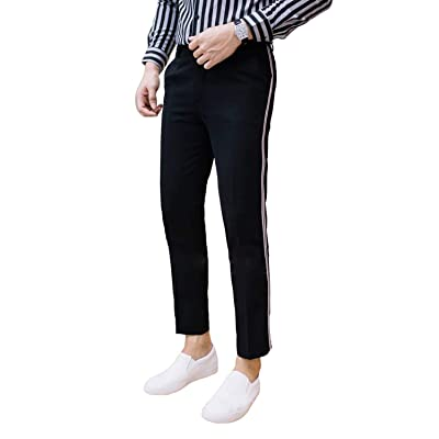 2K Store Men's Total Freedom Relaxed Slim Fit Dress Pants Cropped Skinny Dress Pants (30W x 26.5L) Black at Amazon Men's Clothing store