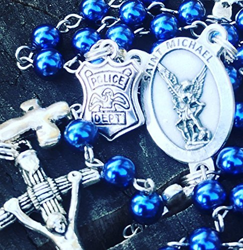 Crucifix Life (Police Officer Themed Catholic Rosary Beads with a Saint Michael Centerpiece, a Police Badge and a Crucifix.)
