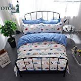 quilt covers - New Cartoon Ocean Fish Twin White Blue Duvet Cover Set for Kids 100% Cotton Reversible Soft 3 Pieces Boys Girls Quilt Cover Bedding Set