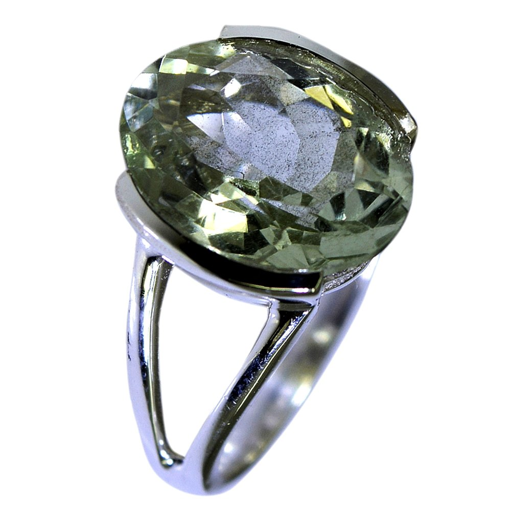 Jewelryonclick Genuine Green Amethyst Silver Statement Ring Birthstone Jewelry Size 5,6,7,8,9,10,11,12