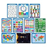 kindergarten learning chart - 10 LAMINATED Educational Wall Posters For Kids - ABC - Alphabet, Solar System, USA & World Map, Numbers 1-100 +, Days of the Week, Months of the Year, Emotions, Time, Money | Learning Charts (18x24)