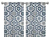 Pair of rod curtains 50'' wide panels navy blue taupe grey damask oatmeal floral window treatment nursery cotton drapes 84 96 108
