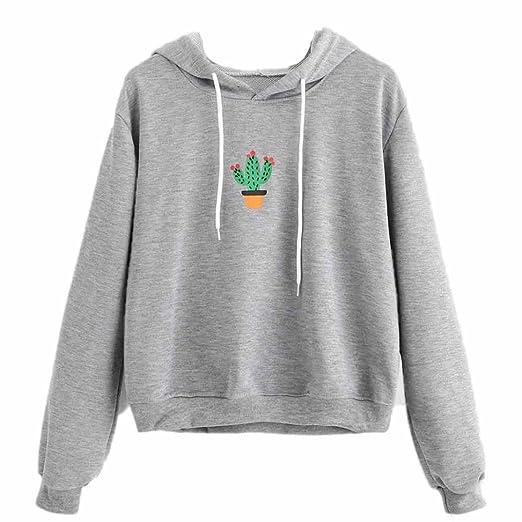 2bbb064412 Teresamoon Pullover Tops Women Cactus Print Hoodie Sweatshirt (S
