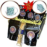 3dRose Uta Naumann Pattern - Teal Fruit Blueberry Summer Pattern - Coffee Gift Baskets - Coffee Gift Basket (cgb_266855_1)