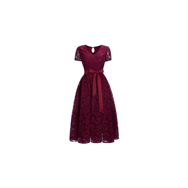 Cps1153 burgundy YPfashion High Low Lace Dresses Elegant Plus Size Short Party Dresses