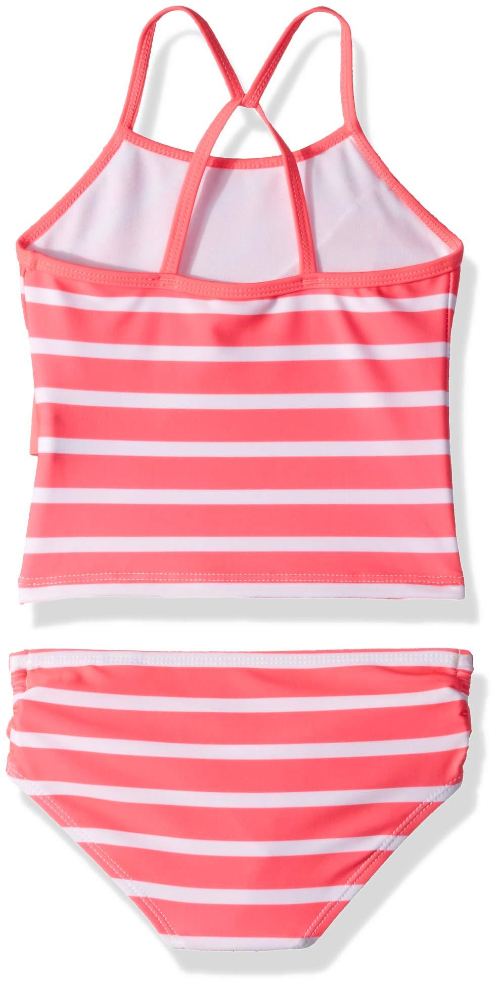 Nautica Little Girls' Tankini Swim Suit, Stripe neon Pink, 6 by Nautica (Image #2)