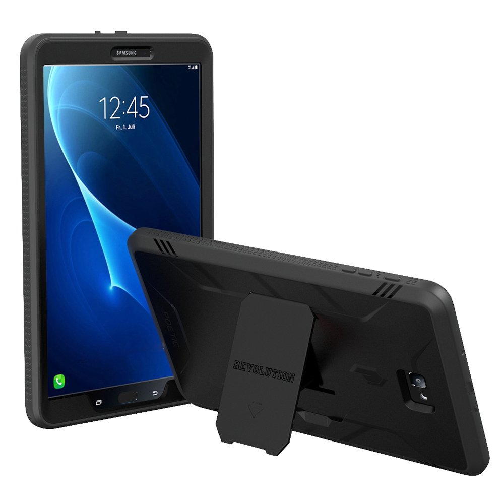 Poetic Revolution Heavy Duty Protection Hybrid Case with Built-in Screen Protector and Kickstand for Samsung Galaxy Tab A 10.1 Black [NOT Compatible with The SPEN Model]