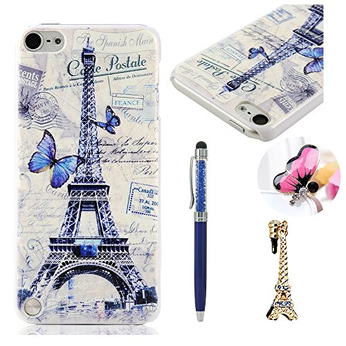 iPod Case iPod Touch 5 Case MOLLYCOOCLE PC Cover White Skin Shell with Blue Butterfly and Eiffel Tower for iPod Touch 5 & Stylus Pen & Eiffel Tower Shaped Anti-dust Plug & Butterfly Anti Dust Plug