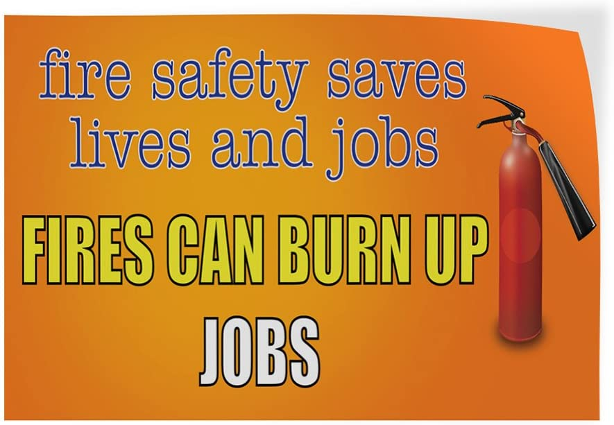 Decal Sticker Multiple Sizes Fire Safety Save Lives and Jobs Business Safety Outdoor Store Sign Yellow Set of 2 64inx42in