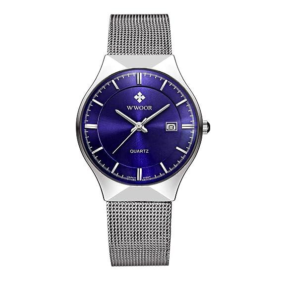 WWOOR Reloj de pulsera para hombre, correa de malla de acero inoxidable ultra fina, cuarzo, moderno, casual, de lujo, de la marca superior: Amazon.es: ...