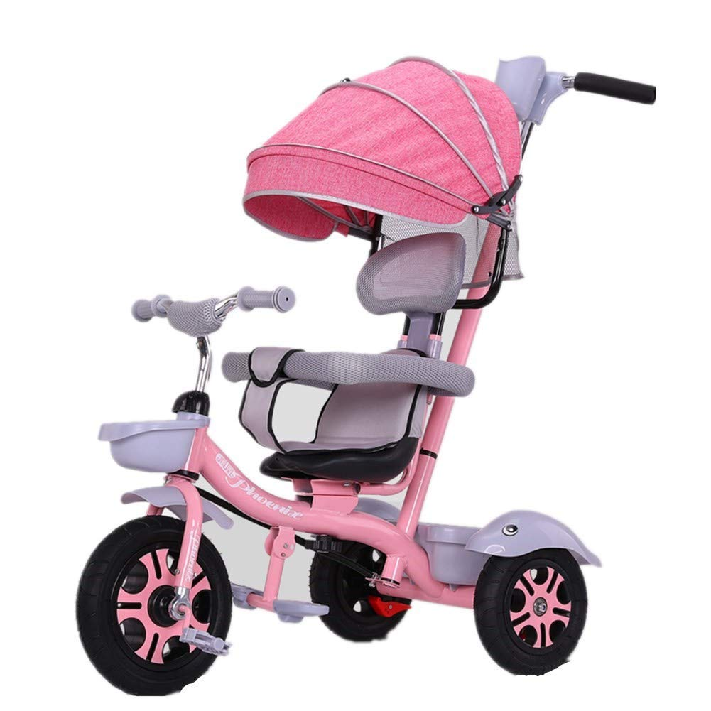 REMTI Pushchairs Children Tricycles Bicycles 1~6 Year Old Large Baby Baby Stroller Portable Baby Cart,Pink REMTI86