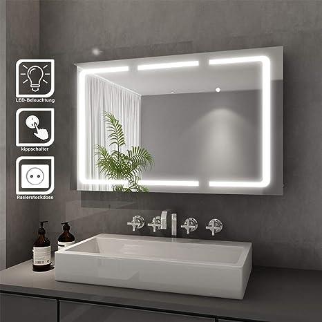 Elegant Bad Spiegelschrank mit Beleuchtung LED Licht Badezimmer  Spiegelschrank Bad Hängeschrank mit Steckdose und Kippschalter 3 türig ...