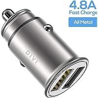 DIVI Cargador de Coche con Doble USB Puerto Cargador Móvil 5V/4.8A/24W, Adaptador Automóvil con Fast Charging Mini Small Size para Phone X / 8/8 Plus / 7, Galaxy S9/S9 Plus/S8/S7/S6 by (Plata)