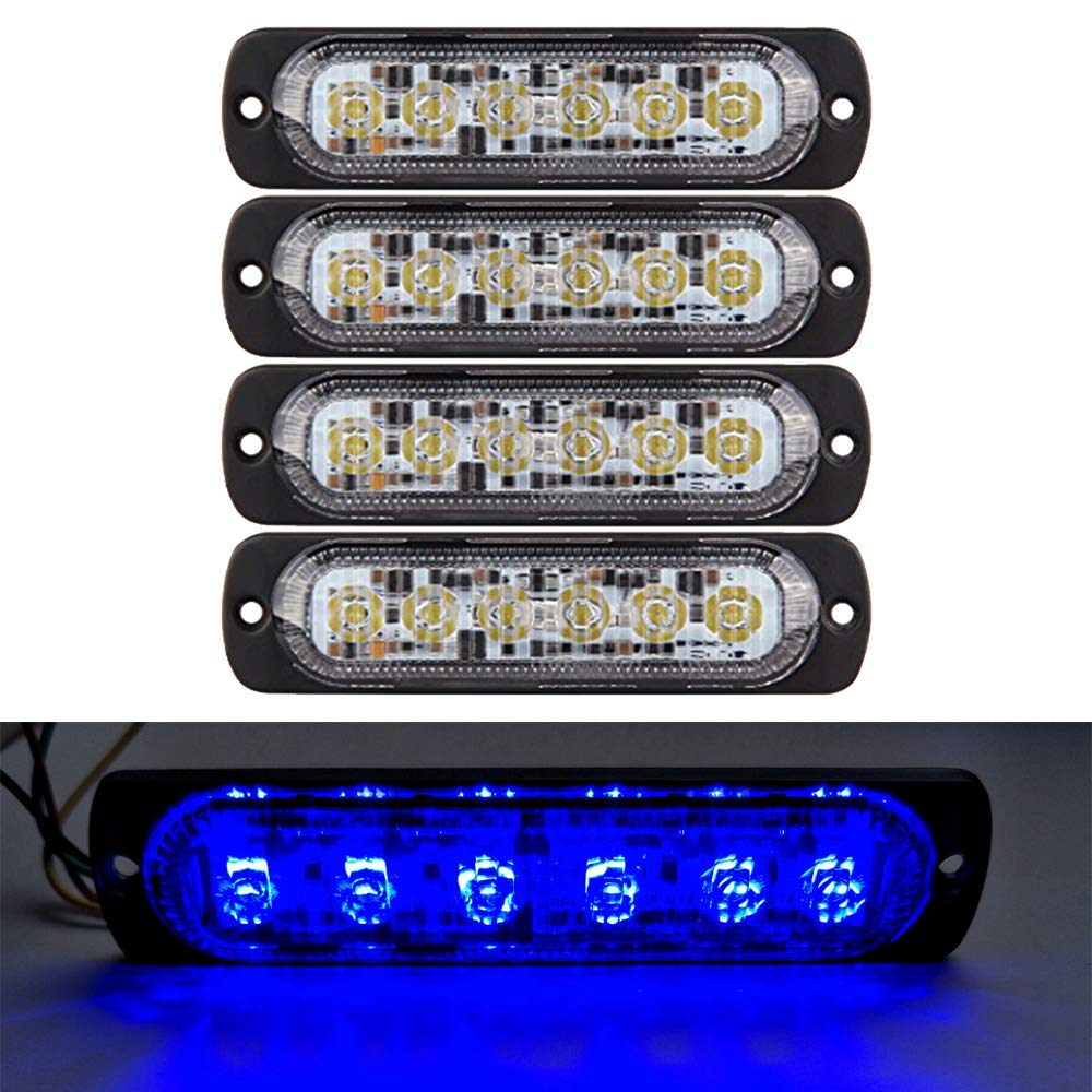 3W Premium Universal Super Thin 6-LED Red Car Truck Flashing Warning Caution Emergency Construction Strobe Light Bar, 4pc FOXSTAR 4333282515