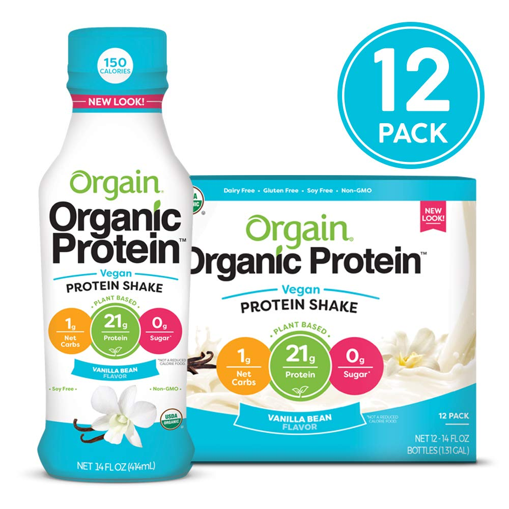 Orgain Organic 21g Vegan Plant Based Protein Shake, Vanilla Bean - Meal Replacement, Ready to Drink, Non Dairy, Gluten Free, Lactose Free, Soy Free, Kosher, Non-GMO, 14 Ounce, 12 Count by Orgain