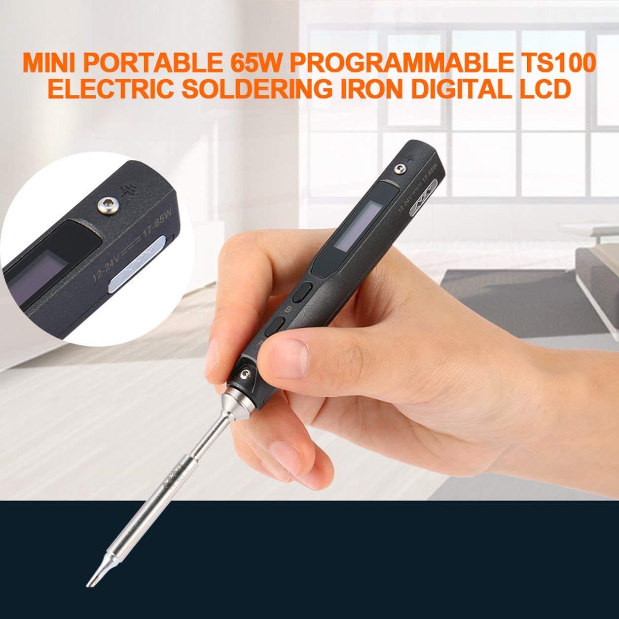 Elegante Set da 1 Mini Portatile da 65 W programmabile TS100 Saldatore Elettrico Digitale LCD Facile da disinstallare risparmiando spazio