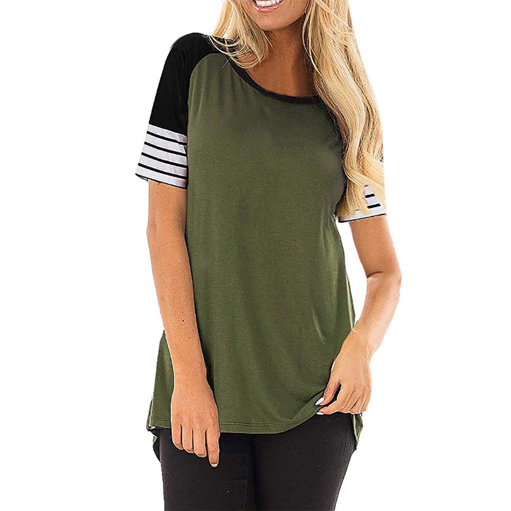 Vickyleb Blouse for Women Casual O-Neck Shirts Short-Sleeve T-Shirt Striped Patchwork Tops Ladies Summer Blouses Green