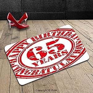 Custom lavable Felpudo 65th cumpleaños decoraciones sesenta cinco años Congrats símbolo icono Grunge Rubber Stamp diseño rojo y blanco para interiores/al aire libre Felpudo alfombra alfombra alfombra