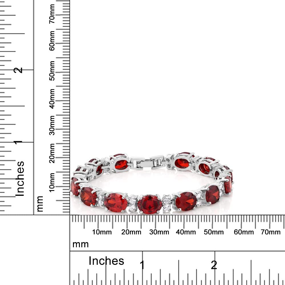 Gem Stone King 40.00 Ct Oval /& Round Red Color Cubic Zirconias CZ Tennis Bracelet 7 Inch
