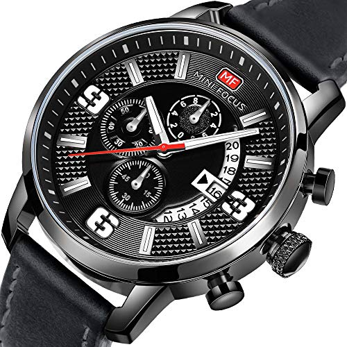 Men Business Watches Black with Leather Strap, ...