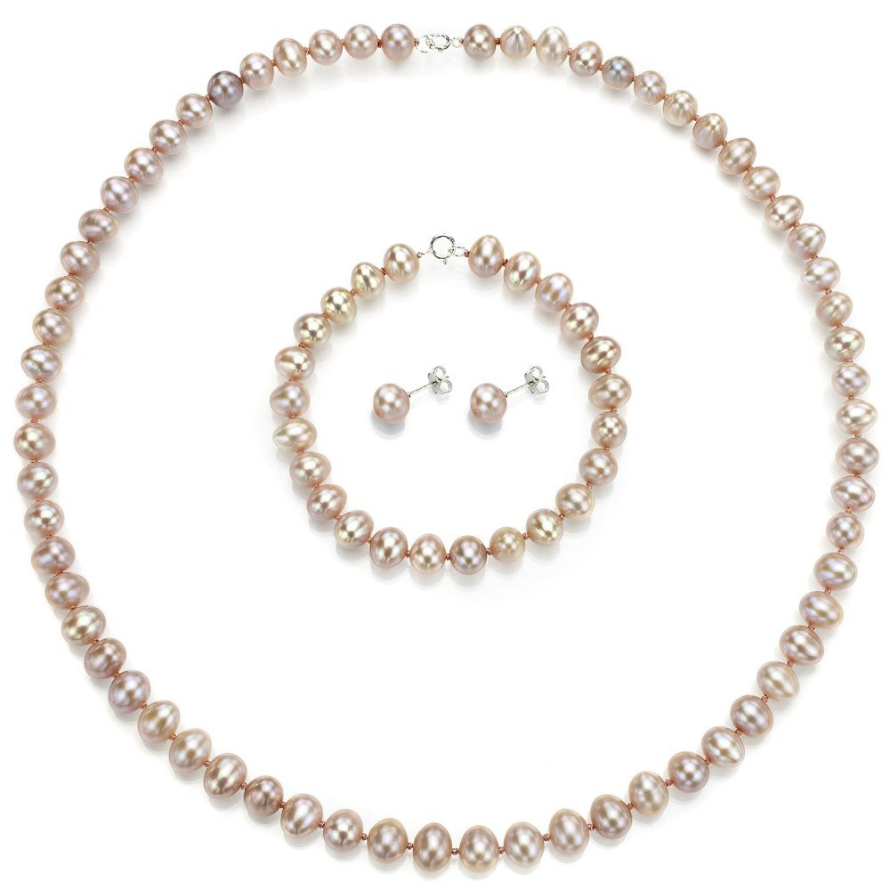 Sterling Silver 7-7.5mm Pink Freshwater Cultured Pearl Necklace, Bracelet and Stud Earrings Set