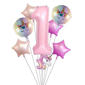 Amazon.com: Paquete de 6 globos de unicornio para decoración ...