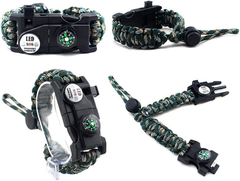 Rescue Whistle boussole Bracelet de survie r/églable Paracord 550 Bracelet Kit 20 en 1 Kit de survie en plein air Kit de survie en plein air avec LED SOS Lumi/ère Fire Starter Multi outil pour Wilderness urgence ou dautres activit/és