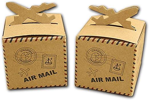 Kingsley 50pz Bomboniere Vintage papel kraft Candy cajas regalo ...