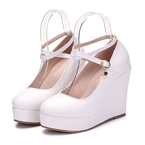 Amazon Com Women Wedges Heels Platform Wedges Pumps White