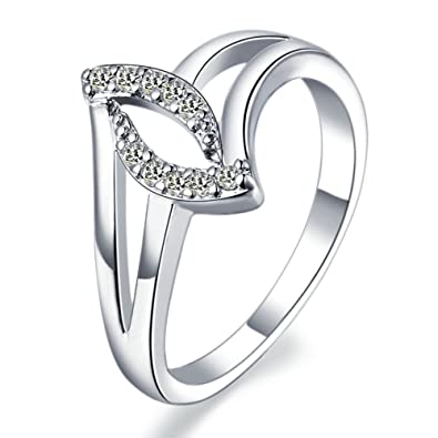 Onefeart White Gold Plated Propose Ring for Women Gift