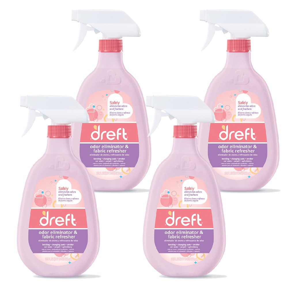 Dreft Fabric Refresher and Odor Eliminator Spray for Car Seat, Stroller, Crib Bedding, Baby Clothes, and More, 22 Fluid Oz (Pack of 4)