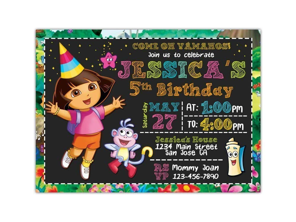 """Custom Dora the Explorer Birthday Party Invitations for Kids, 10pc-60pc 4""""x6"""" or 5""""x7"""" Birthday Cards with White Envelopes, Printed on Premium 265gsm Card ..."""
