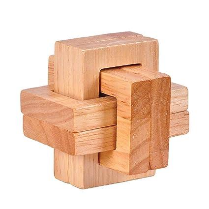 classic uk availability factory authentic Newin Star 1 Set 3D Kongming Lock Set Casse-tête en Bois Puzzles Cube  Classique Luban Jigsaw Jeu pour Enfants et Adultes (Bloc Twisted)