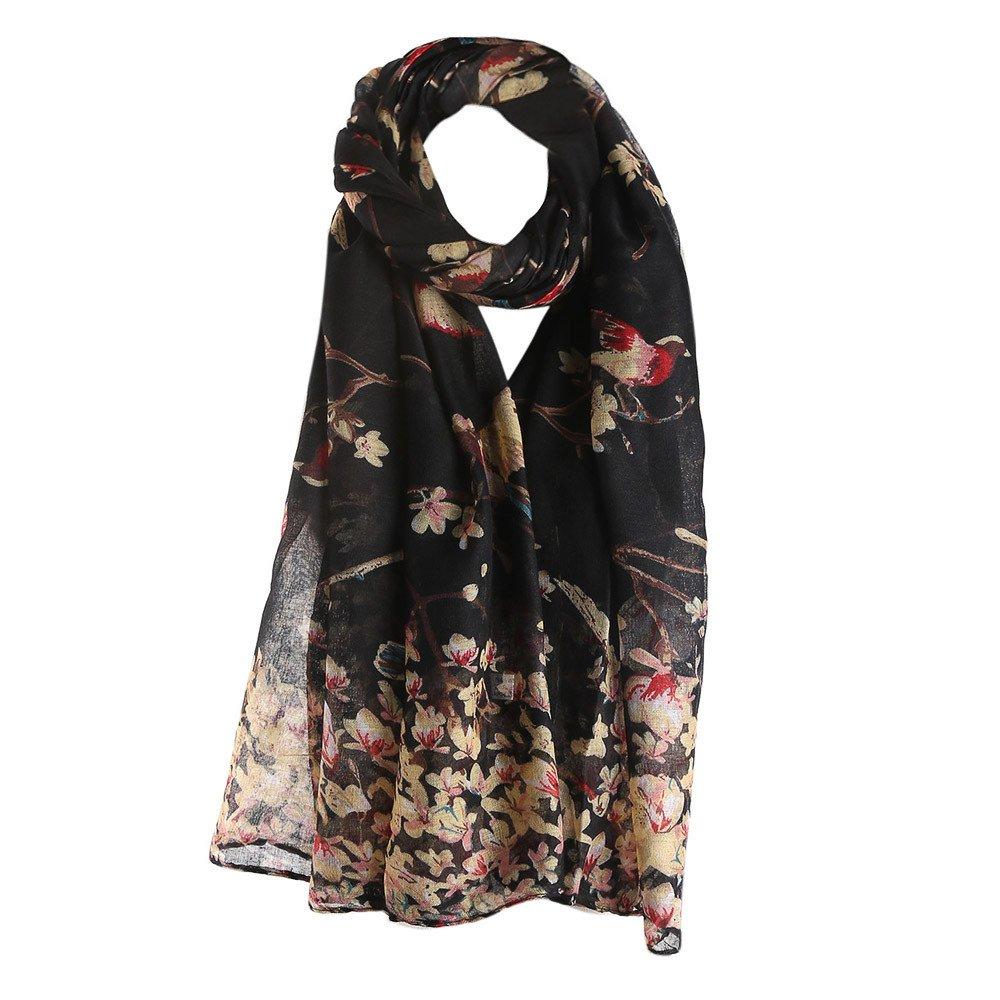 Clearance Silk Scarf for Women,WUAI Christmas Fashion Lotus Printed Long Scarf Warm Wrap Shawl(Black,Free Size)
