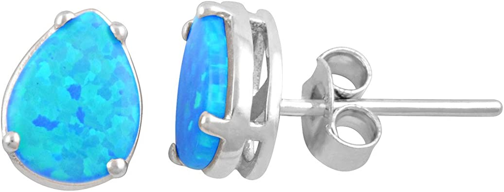 Sterling Silver /& Created Opal Stud Ear Rings